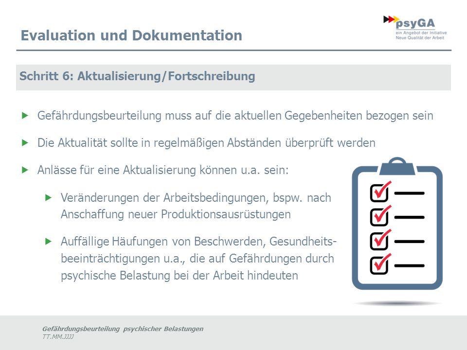Gefährdungsbeurteilung psychischer Belastungen TT.MM.JJJJ Evaluation und Dokumentation Schritt 6: Aktualisierung/Fortschreibung  Gefährdungsbeurteilu