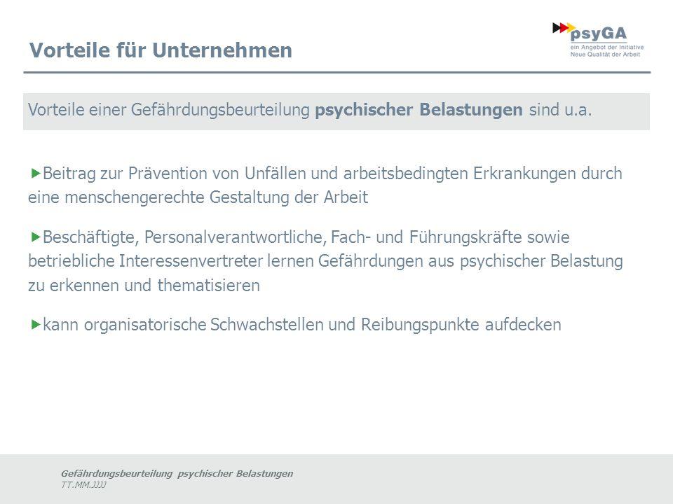 Gefährdungsbeurteilung psychischer Belastungen TT.MM.JJJJ Durchführung Schritt für Schritt Schritt 6 Aktualisierung/ Fortschreibung Schritt 7 Dokumentation