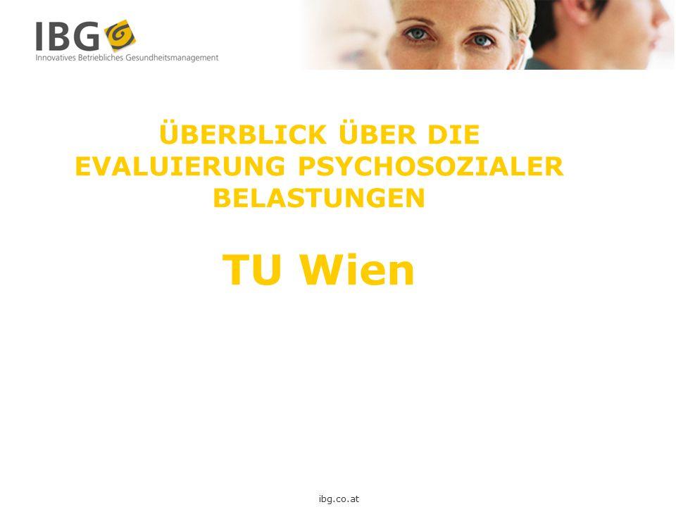 ÜBERBLICK ÜBER DIE EVALUIERUNG PSYCHOSOZIALER BELASTUNGEN TU Wien ibg.co.at