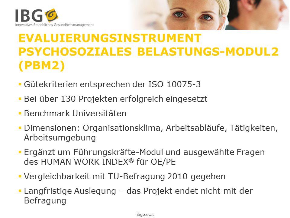 EVALUIERUNGSINSTRUMENT PSYCHOSOZIALES BELASTUNGS-MODUL2 (PBM2)  Gütekriterien entsprechen der ISO 10075-3  Bei über 130 Projekten erfolgreich einges