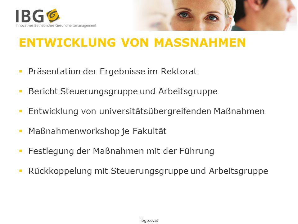ENTWICKLUNG VON MASSNAHMEN  Präsentation der Ergebnisse im Rektorat  Bericht Steuerungsgruppe und Arbeitsgruppe  Entwicklung von universitätsübergr