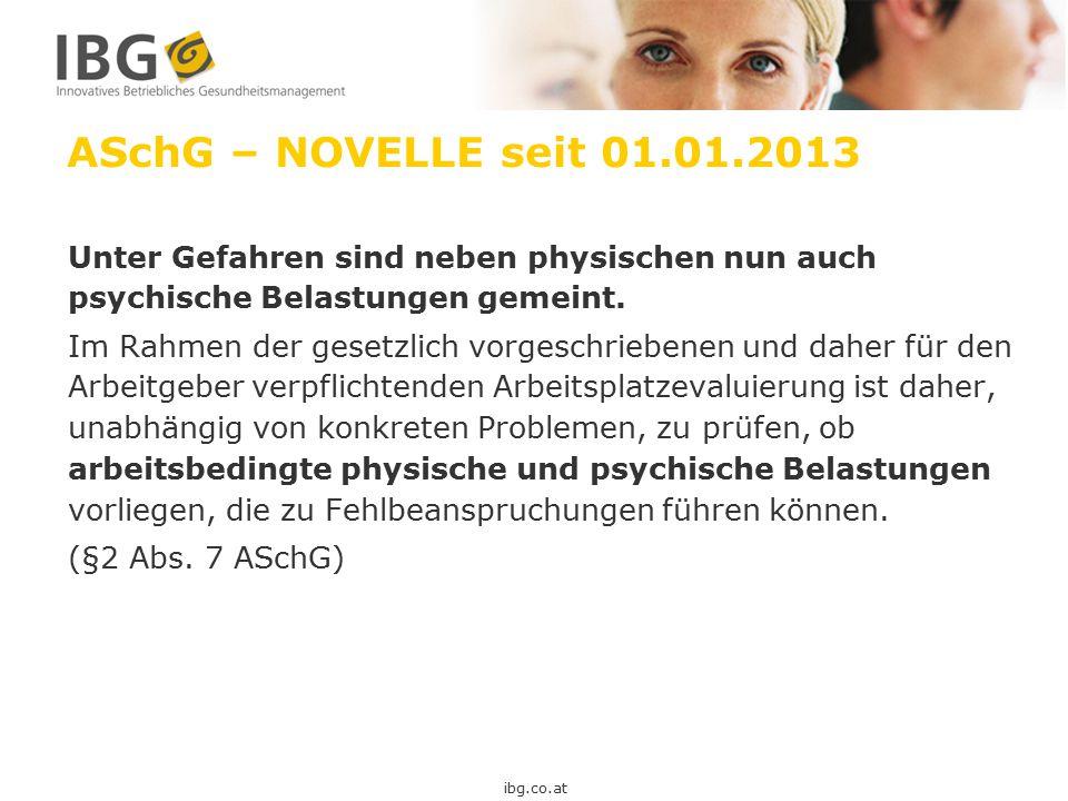 ASchG – NOVELLE seit 01.01.2013 Unter Gefahren sind neben physischen nun auch psychische Belastungen gemeint. Im Rahmen der gesetzlich vorgeschriebene