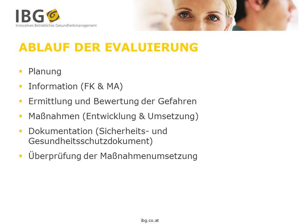 ABLAUF DER EVALUIERUNG  Planung  Information (FK & MA)  Ermittlung und Bewertung der Gefahren  Maßnahmen (Entwicklung & Umsetzung)  Dokumentation