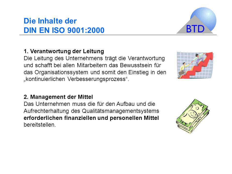 Die Inhalte der DIN EN ISO 9001:2000 1. Verantwortung der Leitung Die Leitung des Unternehmens trägt die Verantwortung und schafft bei allen Mitarbeit