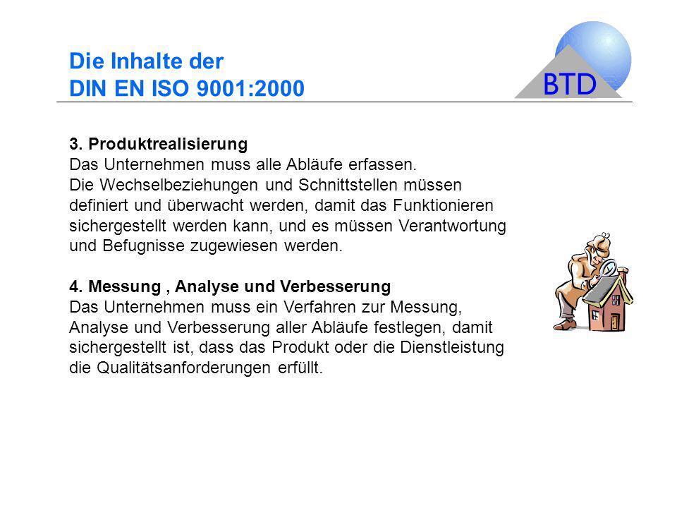 Die Inhalte der DIN EN ISO 9001:2000 3. Produktrealisierung Das Unternehmen muss alle Abläufe erfassen. Die Wechselbeziehungen und Schnittstellen müss