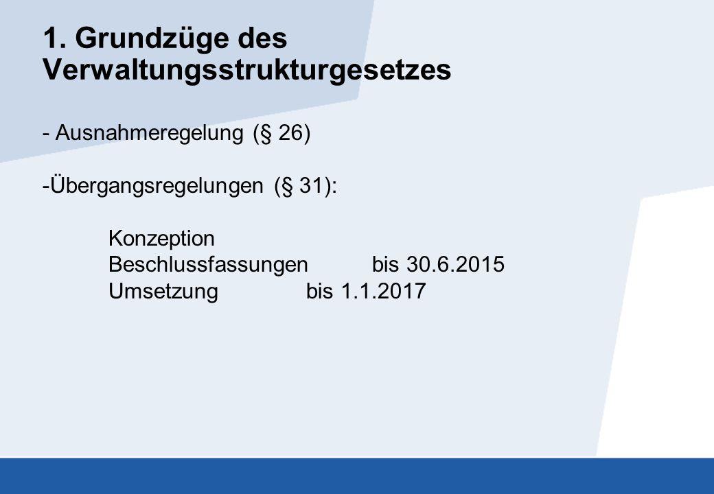 1. Grundzüge des Verwaltungsstrukturgesetzes - Ausnahmeregelung (§ 26) -Übergangsregelungen (§ 31): Konzeption Beschlussfassungen bis 30.6.2015 Umsetz