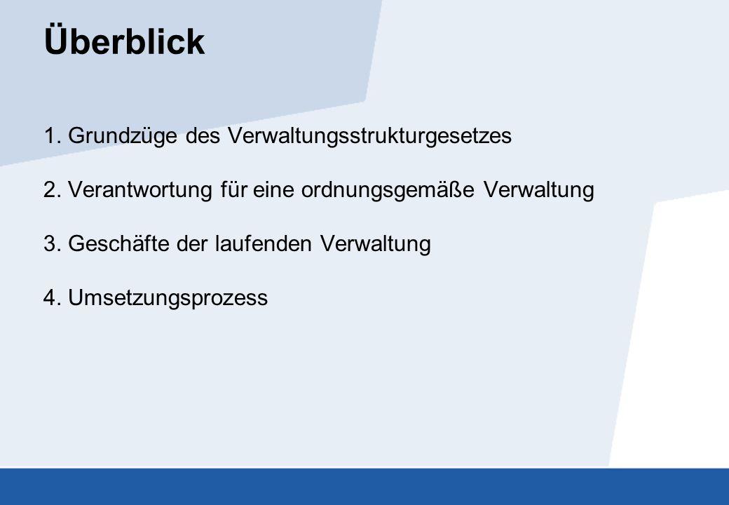 Überblick 1. Grundzüge des Verwaltungsstrukturgesetzes 2. Verantwortung für eine ordnungsgemäße Verwaltung 3. Geschäfte der laufenden Verwaltung 4. Um