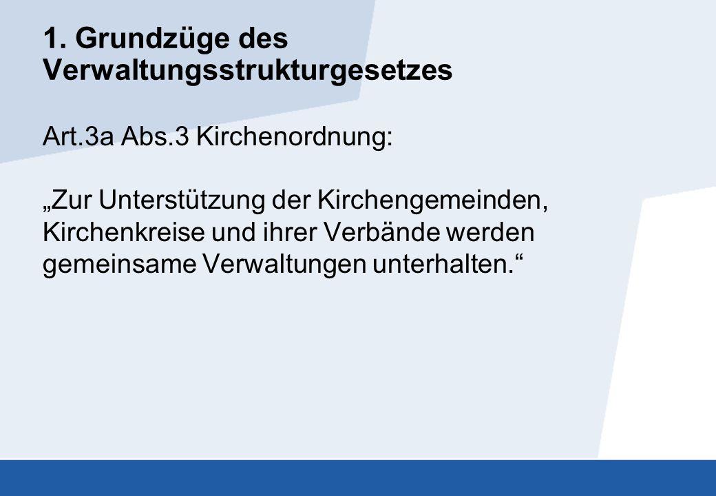 """1. Grundzüge des Verwaltungsstrukturgesetzes Art.3a Abs.3 Kirchenordnung: """"Zur Unterstützung der Kirchengemeinden, Kirchenkreise und ihrer Verbände we"""