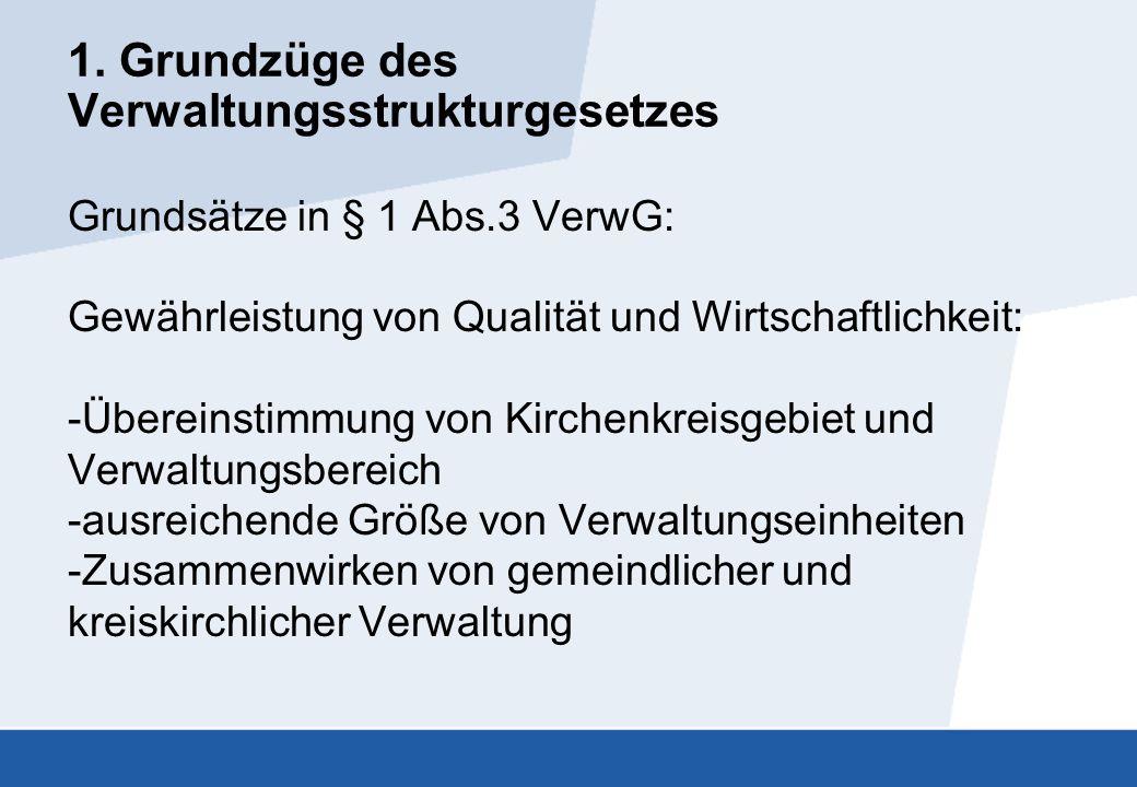1. Grundzüge des Verwaltungsstrukturgesetzes Grundsätze in § 1 Abs.3 VerwG: Gewährleistung von Qualität und Wirtschaftlichkeit: -Übereinstimmung von K