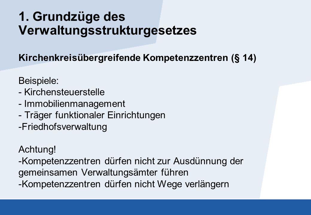 1. Grundzüge des Verwaltungsstrukturgesetzes Kirchenkreisübergreifende Kompetenzzentren (§ 14) Beispiele: - Kirchensteuerstelle - Immobilienmanagement