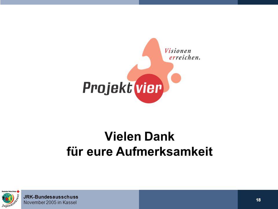 18 JRK-Bundesausschuss November 2005 in Kassel Vielen Dank für eure Aufmerksamkeit