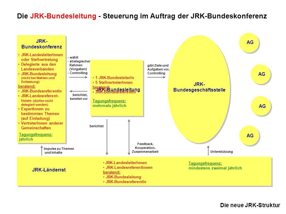 9 JRK-Bundesausschuss November 2005 in Kassel Die neue JRK-Struktur Die JRK-Bundesgeschäftsstelle als zentrale Umsetzungsbasis JRK- Bundesgeschäftsstelle Zweck: Die JRK-Bundesgeschäftsstelle gewährleistet die operative Umsetzung der strategischen Ziele, Vorgaben und Aufträge der JRK-Bundesleitung.
