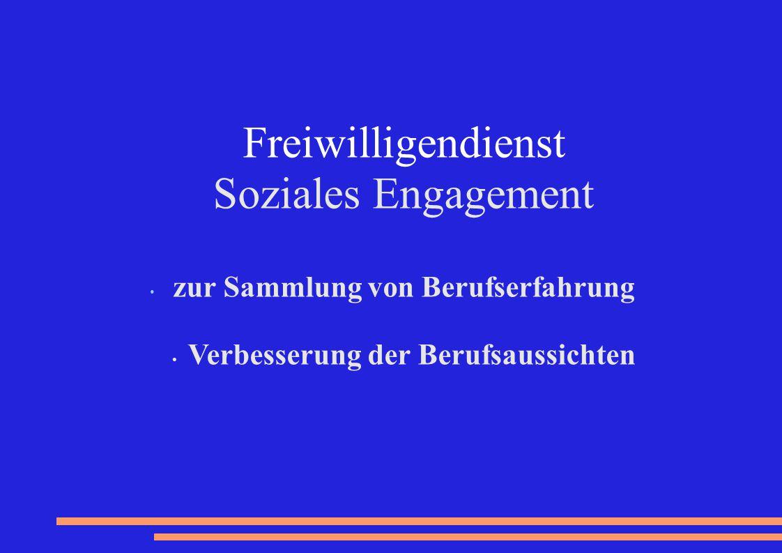 Freiwilligendienst Soziales Engagement zur Sammlung von Berufserfahrung Verbesserung der Berufsaussichten