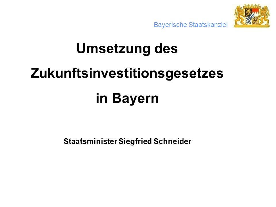 Bayerische Staatskanzlei Umsetzung des Zukunftsinvestitionsgesetzes in Bayern Staatsminister Siegfried Schneider