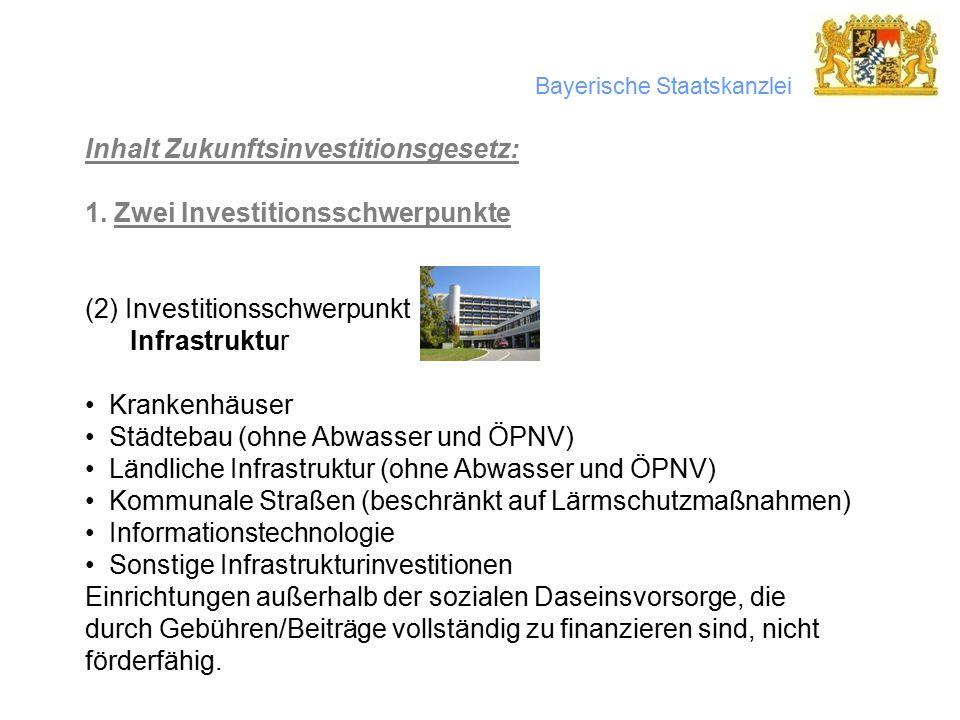 Bayerische Staatskanzlei Inhalt Zukunftsinvestitionsgesetz: 1.