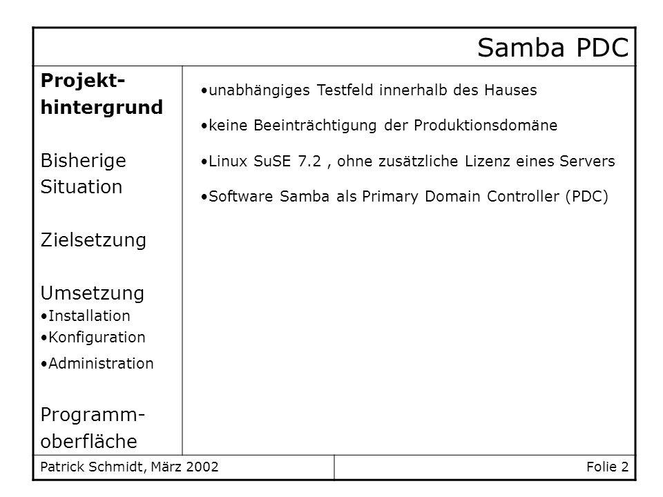 Samba PDC Projekt- hintergrund Bisherige Situation Zielsetzung Umsetzung Installation Konfiguration Administration Programm- oberfläche Patrick Schmid