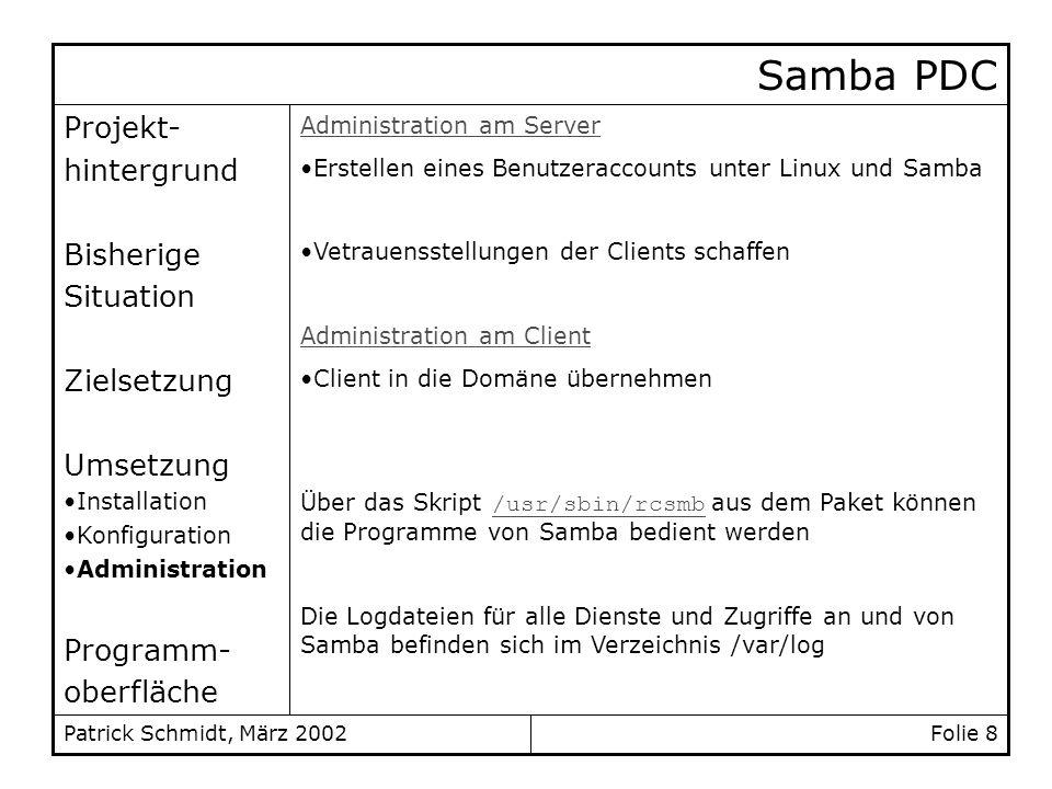 Folie 8Patrick Schmidt, März 2002 Projekt- hintergrund Bisherige Situation Zielsetzung Umsetzung Installation Konfiguration Administration Programm- o