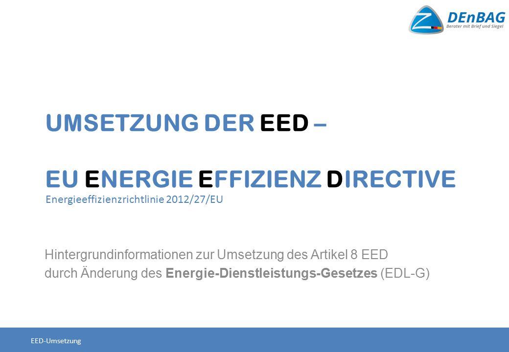 Termin 04.12.2012Inkrafttreten EED - Energieeffizienzrichtlinie 2012/27/EU 05.06.2014Ende Umsetzungsfrist Juli 2014Einleitung eines Vertragsverletzungsverfahren durch Mahnschreiben der KOM Ende Juli 2014Einleitung Konsultationsprozess der BReg zu Gesetzentwurf zur Umsetzung von Art.