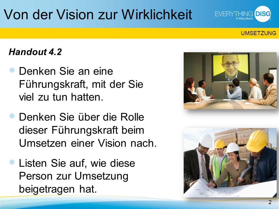 Von der Vision zur Wirklichkeit Handout 4.2 Denken Sie an eine Führungskraft, mit der Sie viel zu tun hatten.