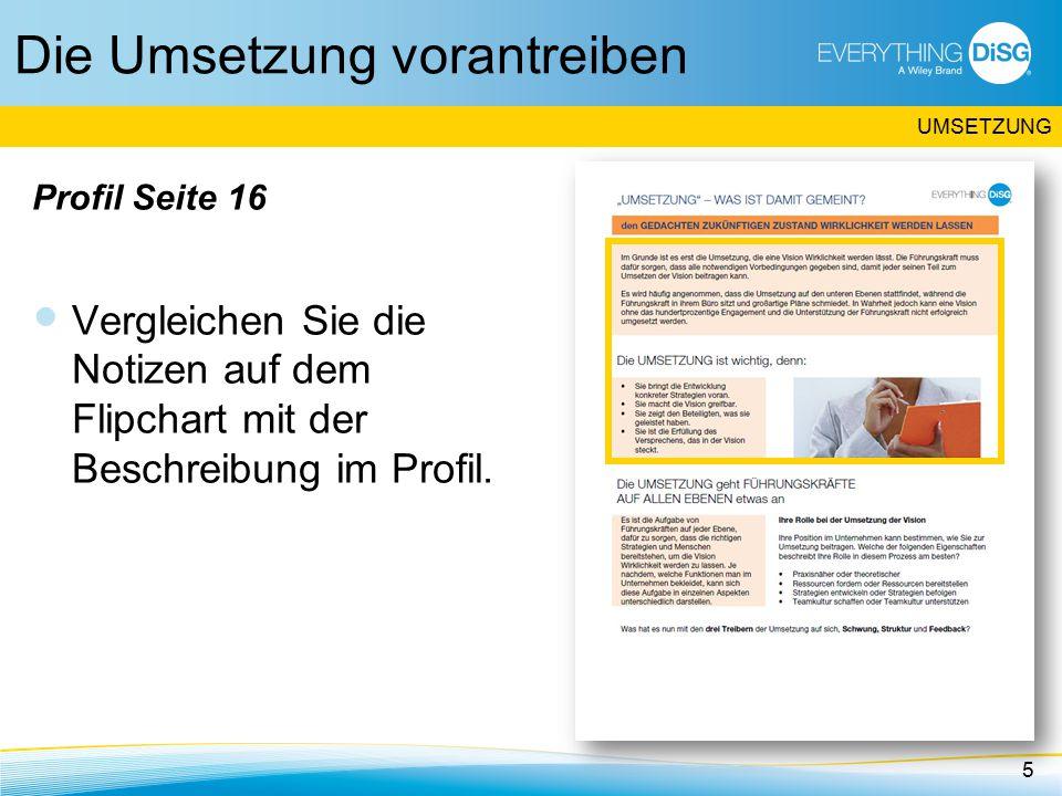 Die Umsetzung vorantreiben Profil Seite 16 Vergleichen Sie die Notizen auf dem Flipchart mit der Beschreibung im Profil.