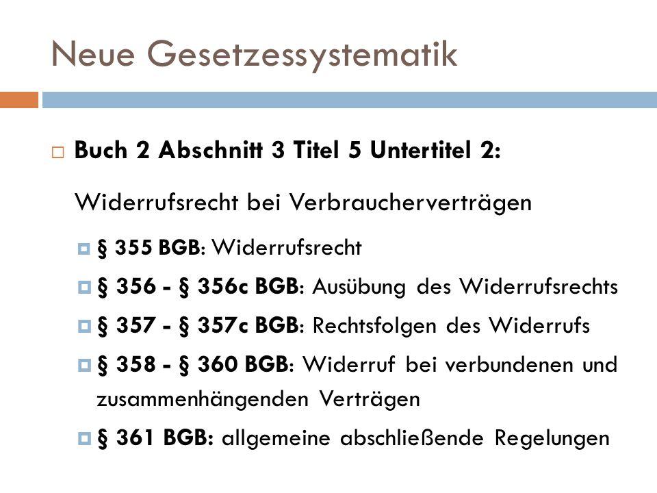 Neue Gesetzessystematik  Buch 2 Abschnitt 3 Titel 5 Untertitel 2: Widerrufsrecht bei Verbraucherverträgen  § 355 BGB: Widerrufsrecht  § 356 - § 356