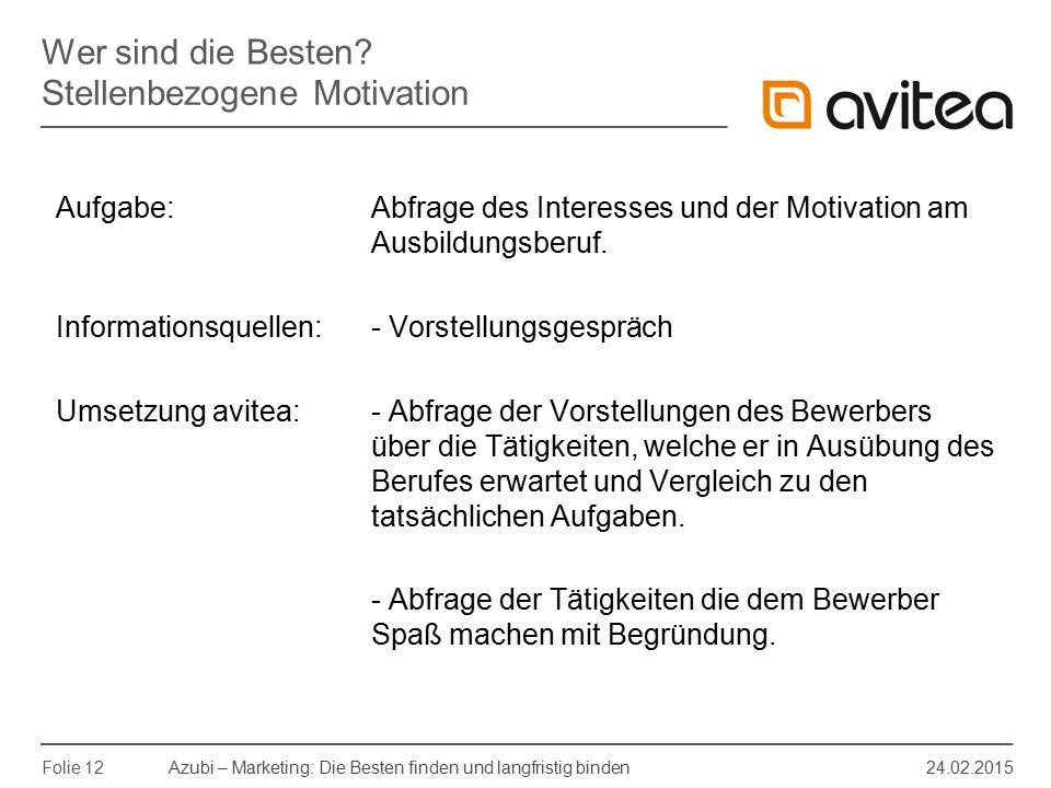 Azubi – Marketing: Die Besten finden und langfristig binden 24.02.2015 Folie 12 Aufgabe: Abfrage des Interesses und der Motivation am Ausbildungsberuf