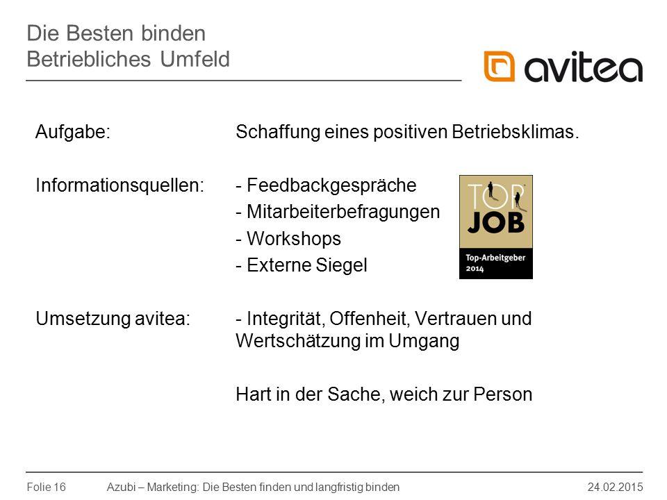 Azubi – Marketing: Die Besten finden und langfristig binden 24.02.2015 Folie 16 Aufgabe: Schaffung eines positiven Betriebsklimas. Informationsquellen