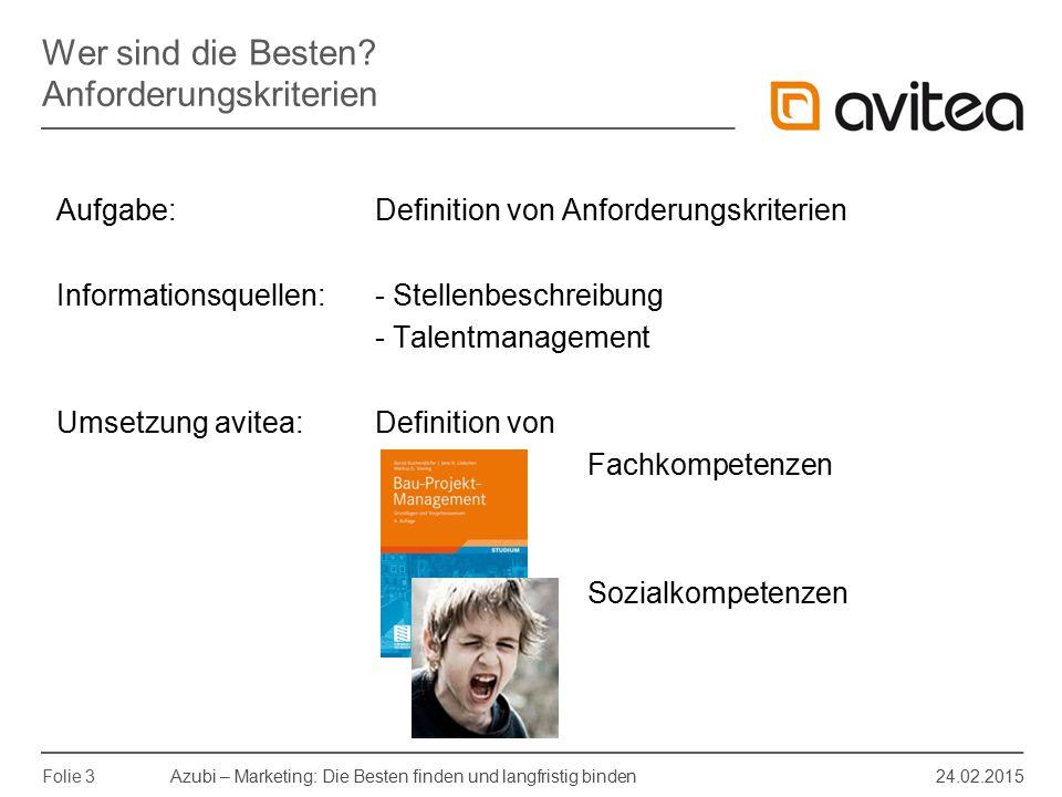 Azubi – Marketing: Die Besten finden und langfristig binden 24.02.2015 Folie 4 Aufgabe: Definition relevanter Schulfächer und ggf.