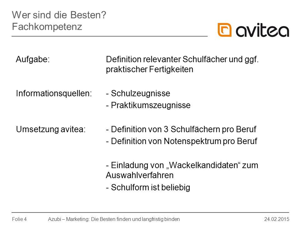 Azubi – Marketing: Die Besten finden und langfristig binden 24.02.2015 Folie 4 Aufgabe: Definition relevanter Schulfächer und ggf. praktischer Fertigk