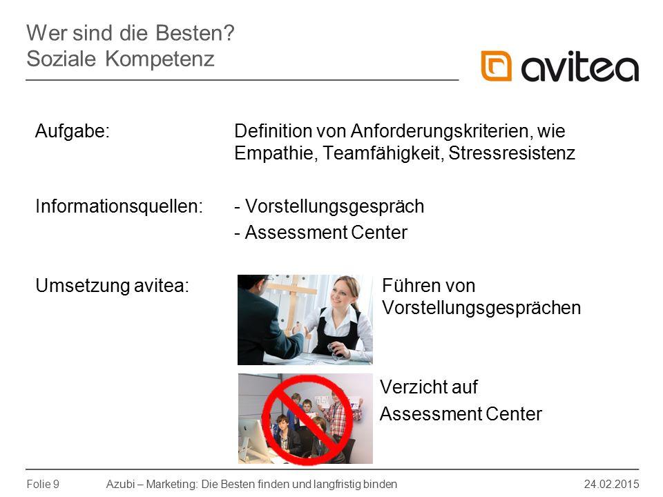 Azubi – Marketing: Die Besten finden und langfristig binden 24.02.2015 Folie 9 Aufgabe: Definition von Anforderungskriterien, wie Empathie, Teamfähigk