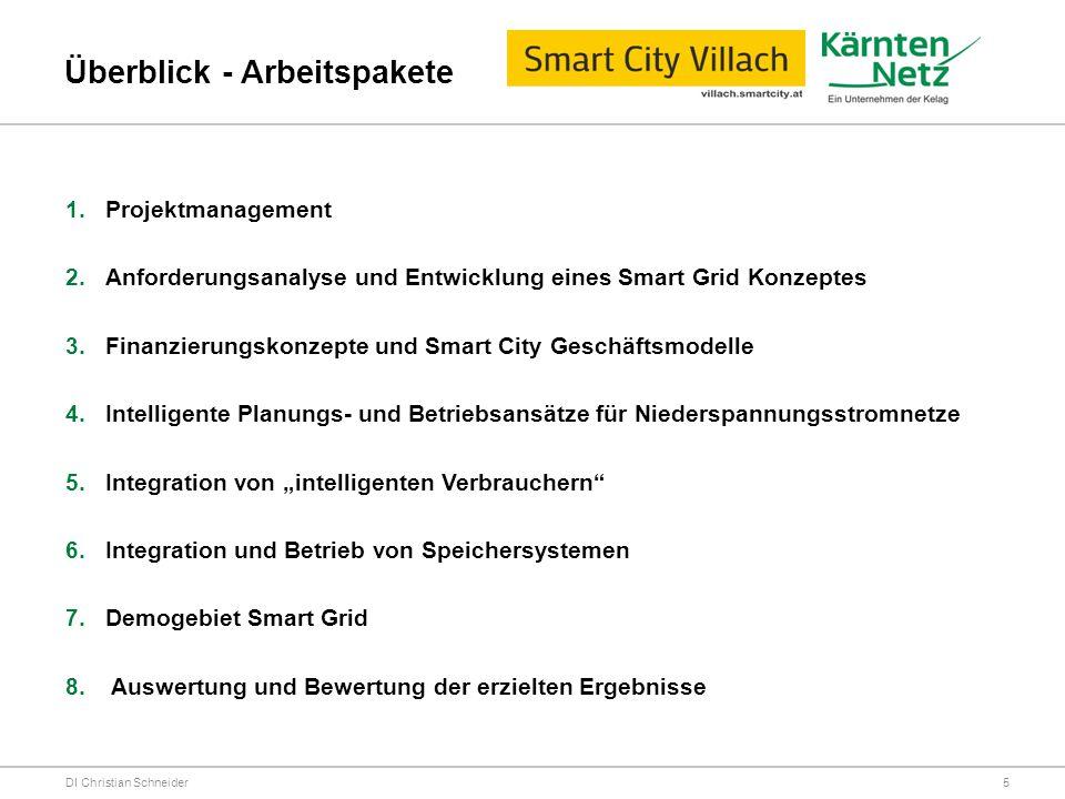 Überblick - Arbeitspakete DI Christian Schneider 1.Projektmanagement 2.Anforderungsanalyse und Entwicklung eines Smart Grid Konzeptes 3.Finanzierungsk