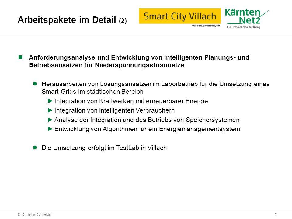 Arbeitspakete im Detail (2) DI Christian Schneider Anforderungsanalyse und Entwicklung von intelligenten Planungs- und Betriebsansätzen für Niederspan