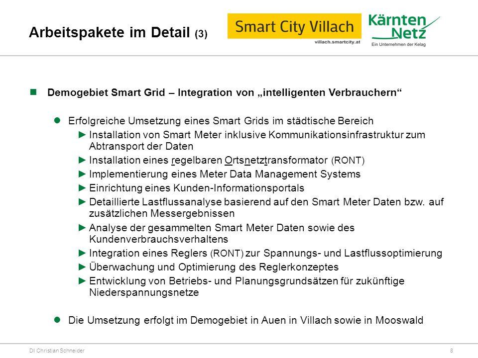 """Arbeitspakete im Detail (3) DI Christian Schneider Demogebiet Smart Grid – Integration von """"intelligenten Verbrauchern"""" Erfolgreiche Umsetzung eines S"""