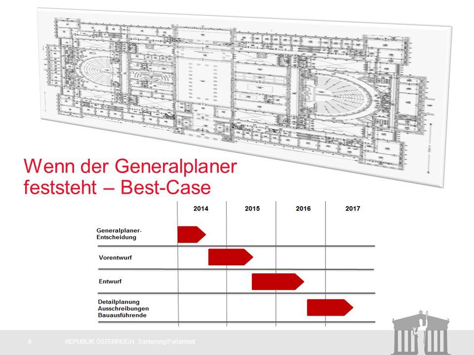 6REPUBLIK ÖSTERREICH Sanierung Parlament Wenn der Generalplaner feststeht – Best-Case