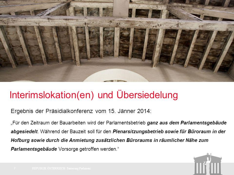 Interimslokation(en) und Übersiedelung 7REPUBLIK ÖSTERREICH Sanierung Parlament Ergebnis der Präsidialkonferenz vom 15.