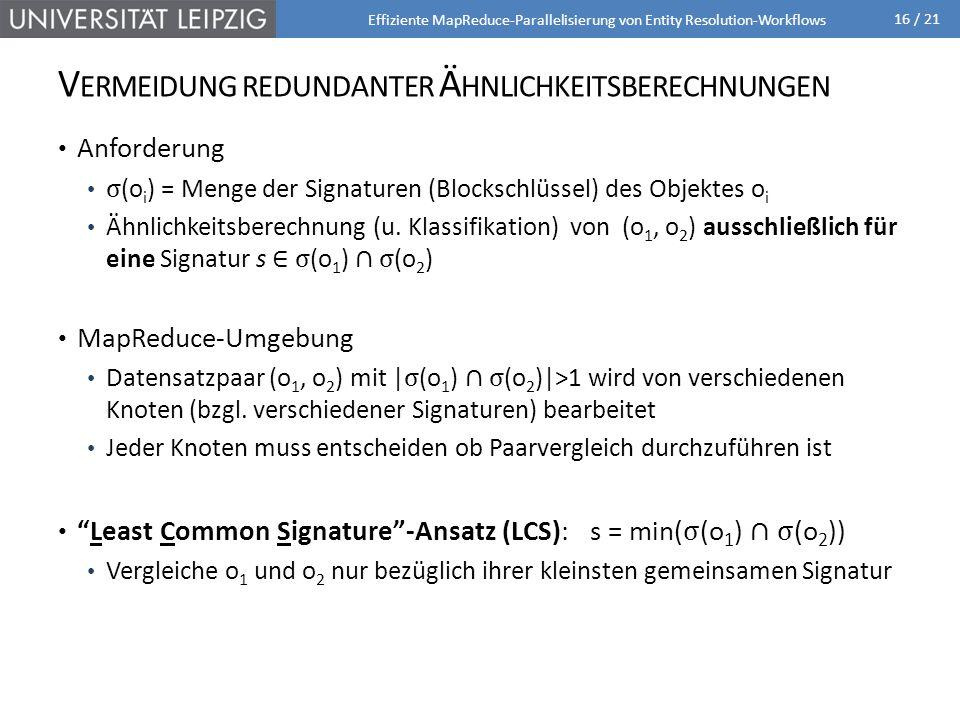 16 / 21 V ERMEIDUNG REDUNDANTER Ä HNLICHKEITSBERECHNUNGEN Effiziente MapReduce-Parallelisierung von Entity Resolution-Workflows