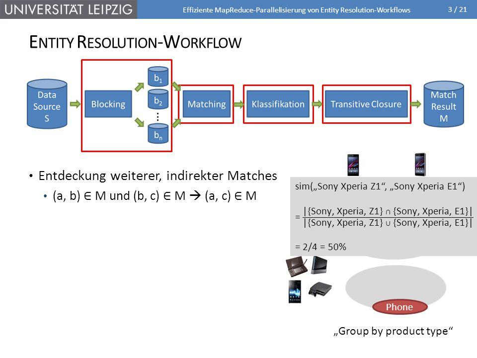 3 / 21 E NTITY R ESOLUTION -W ORKFLOW Effiziente MapReduce-Parallelisierung von Entity Resolution-Workflows Partitionierung der Datenquelle zur Eingrenzung potentieller Duplikate Standard Blocking Gruppierung der Datensätze nach Blockschlüssel Duplikatsuche nur innerhalb eines Blocks Paarweise Ähnlichkeitsberechnung Editierdistanzbasiert Tokenbasiert Berücksichtigung v.