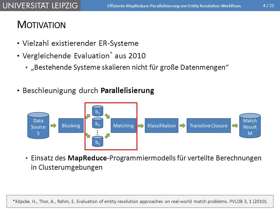 """4 / 21 M OTIVATION Vielzahl existierender ER-Systeme Vergleichende Evaluation * aus 2010 """"Bestehende Systeme skalieren nicht für große Datenmengen Beschleunigung durch Parallelisierung Einsatz des MapReduce-Programmiermodells für verteilte Berechnungen in Clusterumgebungen Effiziente MapReduce-Parallelisierung von Entity Resolution-Workflows *Köpcke, H., Thor, A., Rahm, E."""