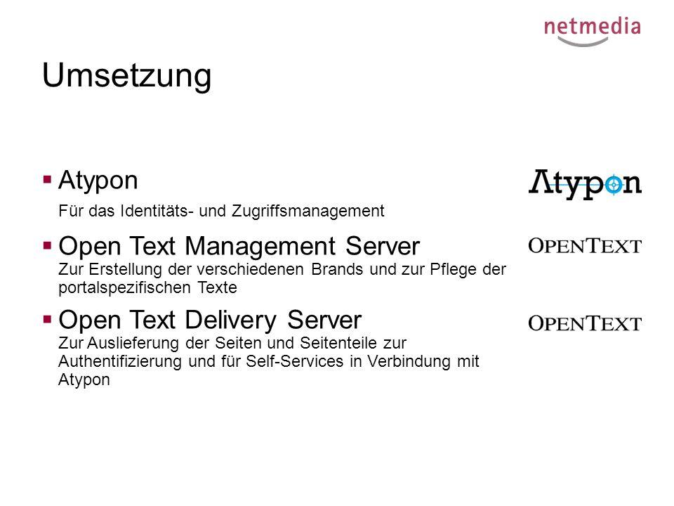 Umsetzung  Atypon Für das Identitäts- und Zugriffsmanagement  Open Text Management Server Zur Erstellung der verschiedenen Brands und zur Pflege der