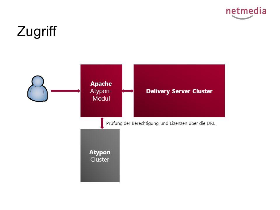 Zugriff Delivery Server Cluster Apache Atypon- Modul Atypon Cluster Prüfung der Berechtigung und Lizenzen über die URL