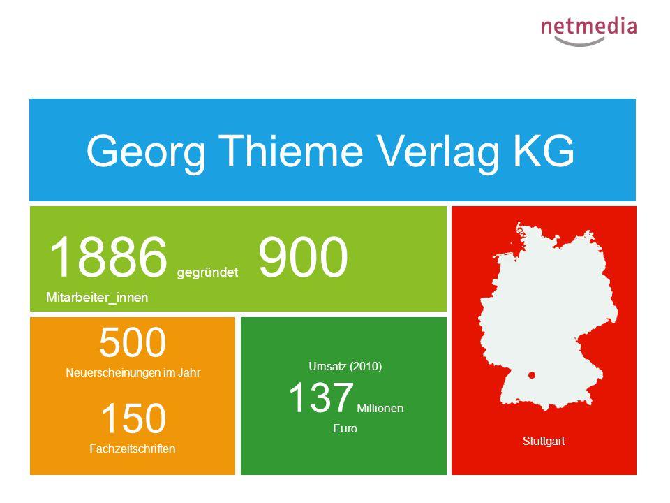 Stuttgart 1886 gegründet 900 Mitarbeiter_innen Umsatz (2010) 137 Millionen Euro 500 Neuerscheinungen im Jahr 150 Fachzeitschriften Georg Thieme Verlag