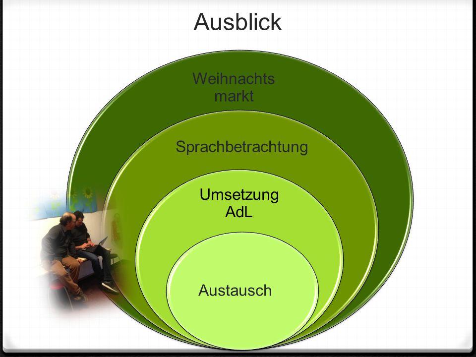 Ausblick Weihnachts markt Sprachbetrachtung Umsetzung AdL Austausch