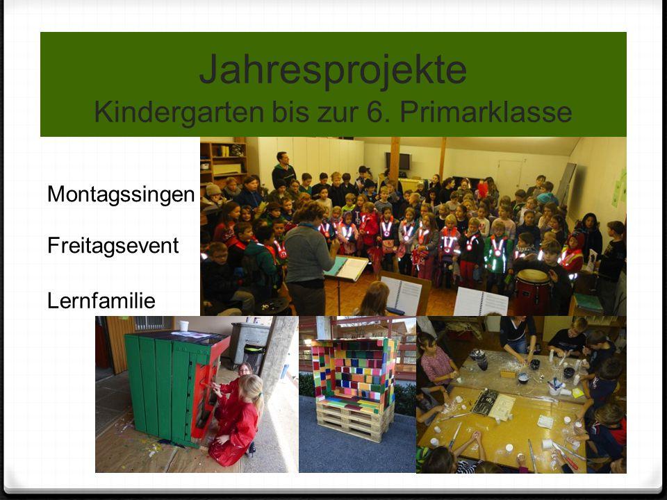Jahresprojekte Kindergarten bis zur 6. Primarklasse Montagssingen Freitagsevent Lernfamilie