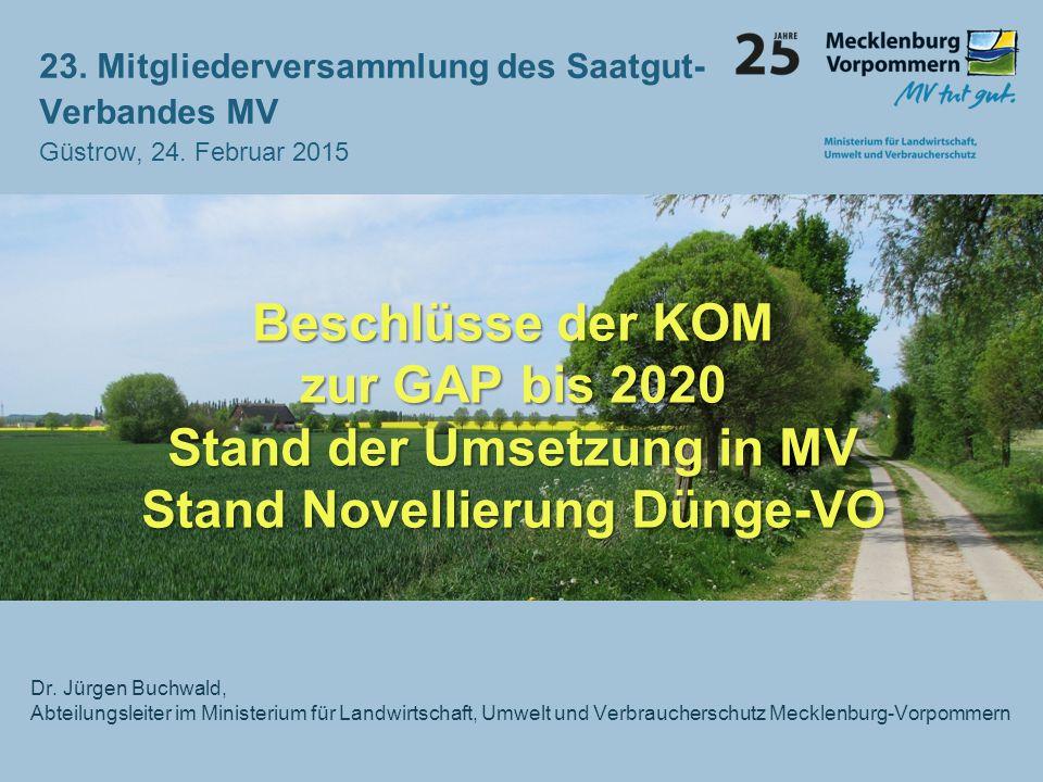 Beschlüsse der KOM zur GAP bis 2020 Stand der Umsetzung in MV Stand Novellierung Dünge-VO Dr. Jürgen Buchwald, Abteilungsleiter im Ministerium für Lan