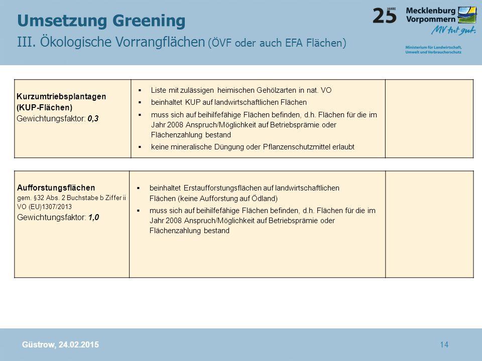 Umsetzung Greening III. Ökologische Vorrangflächen (ÖVF oder auch EFA Flächen) Güstrow, 24.02.2015 Kurzumtriebsplantagen (KUP-Flächen) Gewichtungsfakt