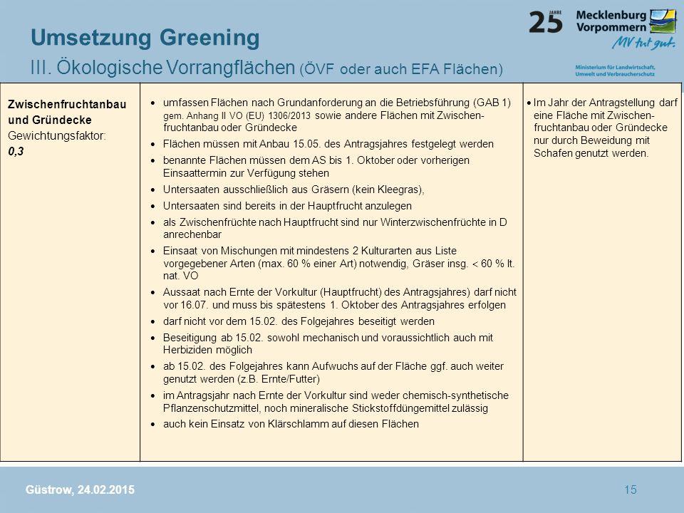Umsetzung Greening III. Ökologische Vorrangflächen (ÖVF oder auch EFA Flächen) Güstrow, 24.02.2015 Zwischenfruchtanbau und Gründecke Gewichtungsfaktor