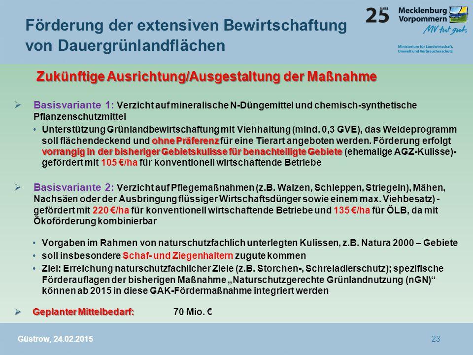  Basisvariante 1: Verzicht auf mineralische N-Düngemittel und chemisch-synthetische Pflanzenschutzmittel ohne Präferenz vorrangig in der bisheriger Gebietskulisse für benachteiligte GebieteUnterstützung Grünlandbewirtschaftung mit Viehhaltung (mind.