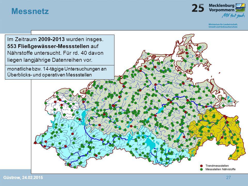 Messnetz Im Zeitraum 2009-2013 wurden insges. 553 Fließgewässer-Messstellen auf Nährstoffe untersucht. Für rd. 40 davon liegen langjährige Datenreihen