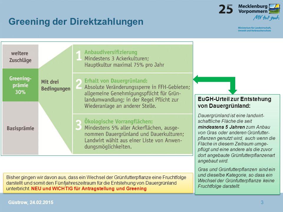 Greening der Direktzahlungen Güstrow, 24.02.2015 EuGH-Urteil zur Entstehung von Dauergrünland: Dauergrünland ist eine landwirt- schaftliche Fläche die