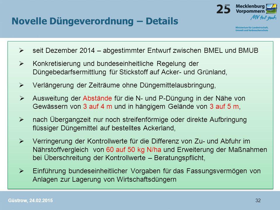 seit Dezember 2014 – abgestimmter Entwurf zwischen BMEL und BMUB  Konkretisierung und bundeseinheitliche Regelung der Düngebedarfsermittlung für Stickstoff auf Acker- und Grünland,  Verlängerung der Zeiträume ohne Düngemittelausbringung,  Ausweitung der Abstände für die N- und P-Düngung in der Nähe von Gewässern von 3 auf 4 m und in hängigem Gelände von 3 auf 5 m,  nach Übergangzeit nur noch streifenförmige oder direkte Aufbringung flüssiger Düngemittel auf bestelltes Ackerland,  Verringerung der Kontrollwerte für die Differenz von Zu- und Abfuhr im Nährstoffvergleich von 60 auf 50 kg N/ha und Erweiterung der Maßnahmen bei Überschreitung der Kontrollwerte – Beratungspflicht,  Einführung bundeseinheitlicher Vorgaben für das Fassungsvermögen von Anlagen zur Lagerung von Wirtschaftsdüngern  seit Dezember 2014 – abgestimmter Entwurf zwischen BMEL und BMUB  Konkretisierung und bundeseinheitliche Regelung der Düngebedarfsermittlung für Stickstoff auf Acker- und Grünland,  Verlängerung der Zeiträume ohne Düngemittelausbringung,  Ausweitung der Abstände für die N- und P-Düngung in der Nähe von Gewässern von 3 auf 4 m und in hängigem Gelände von 3 auf 5 m,  nach Übergangzeit nur noch streifenförmige oder direkte Aufbringung flüssiger Düngemittel auf bestelltes Ackerland,  Verringerung der Kontrollwerte für die Differenz von Zu- und Abfuhr im Nährstoffvergleich von 60 auf 50 kg N/ha und Erweiterung der Maßnahmen bei Überschreitung der Kontrollwerte – Beratungspflicht,  Einführung bundeseinheitlicher Vorgaben für das Fassungsvermögen von Anlagen zur Lagerung von Wirtschaftsdüngern Güstrow, 24.02.2015 Novelle Düngeverordnung – Details 32